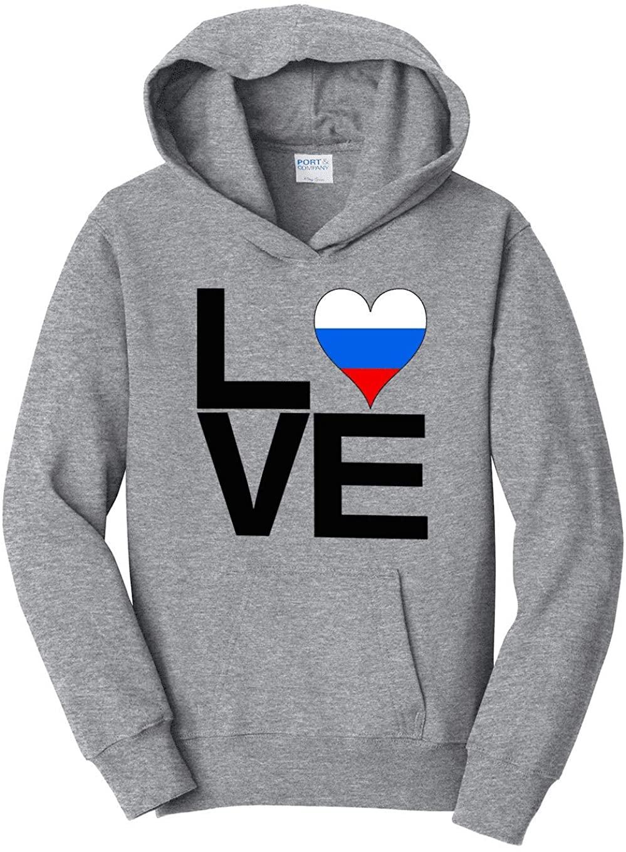 HARD EDGE DESIGN Girl's Youth Love Block Russia Heart Hooded Sweatshirt, Medium, Heather Grey
