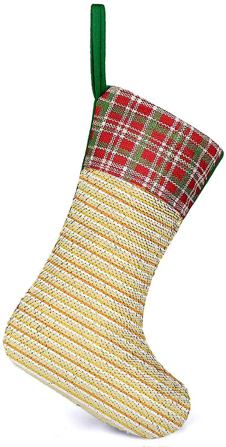 Personalized Stockings Autumn Season Toned Forms with Stripes Wavy Lines Dots Print Beige Xmas Holiday Fireplace Hanging Decoration Gifts for Family Christmas Holiday Party 9.9 x 13.2 Inch