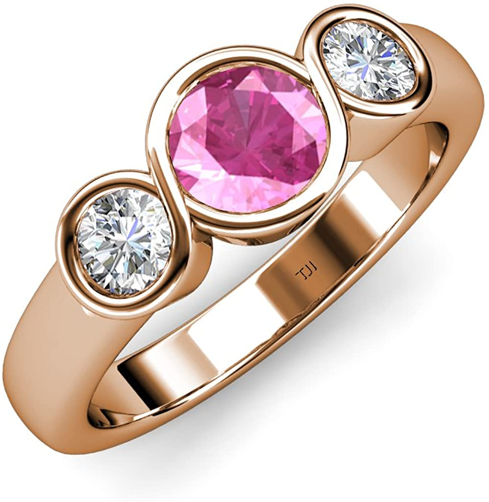 TriJewels Pink Sapphire and Diamond (SI2, G) Infinity Three Stone Ring 1.85 ct tw in 14K Rose Gold