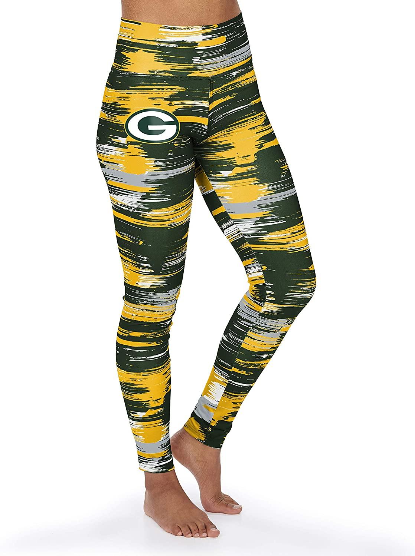 Zubaz NFL Green Bay Packers Women's Paint Legging, Green/Gold, Large
