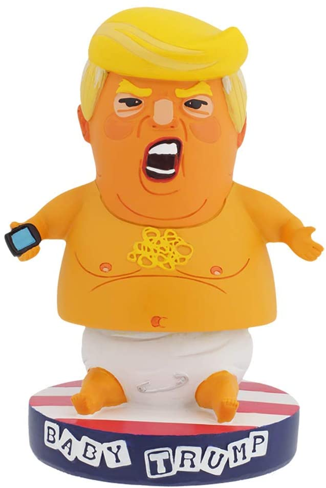 Baby Trump Blimp BobbleHIPS Bobblehead with American Flag Base - Funny Toddler President with Cellphone Statue - Premium Bobblehead Political Figurine for Home or Office - Great Decoration