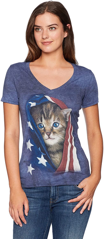 The Mountain Women's Tri-Blend V-Neck Patriotic Kitten T-Shirt