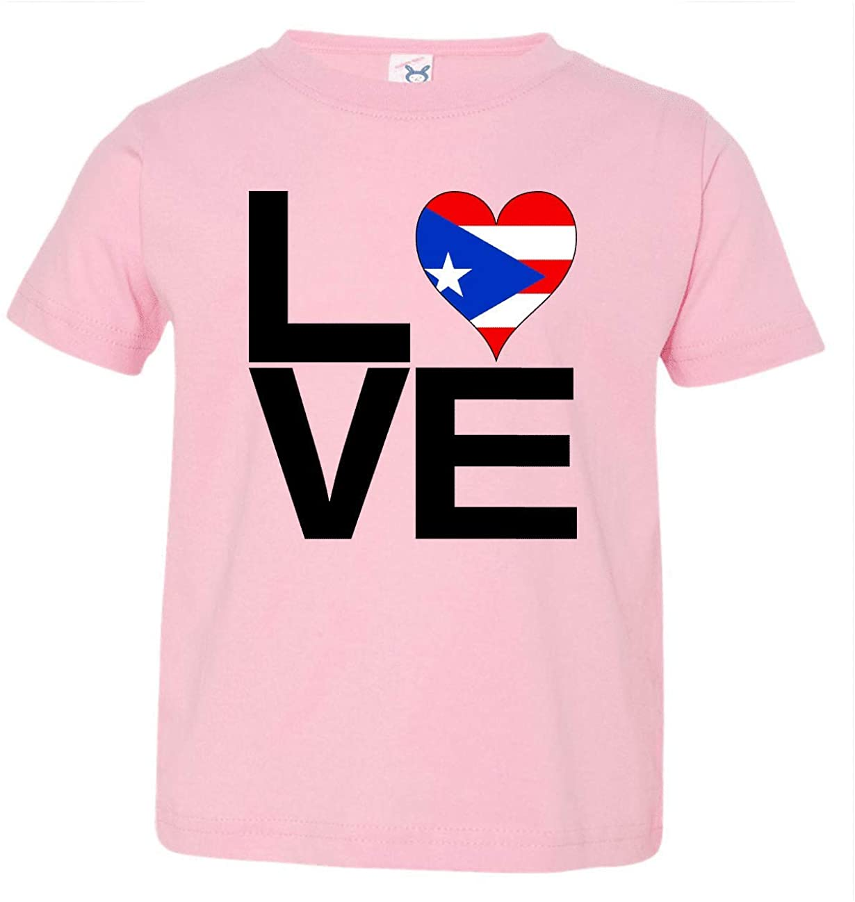 HARD EDGE DESIGN Toddler's Love Block Puerto Rico Heart T-Shirt, 2T, Pink