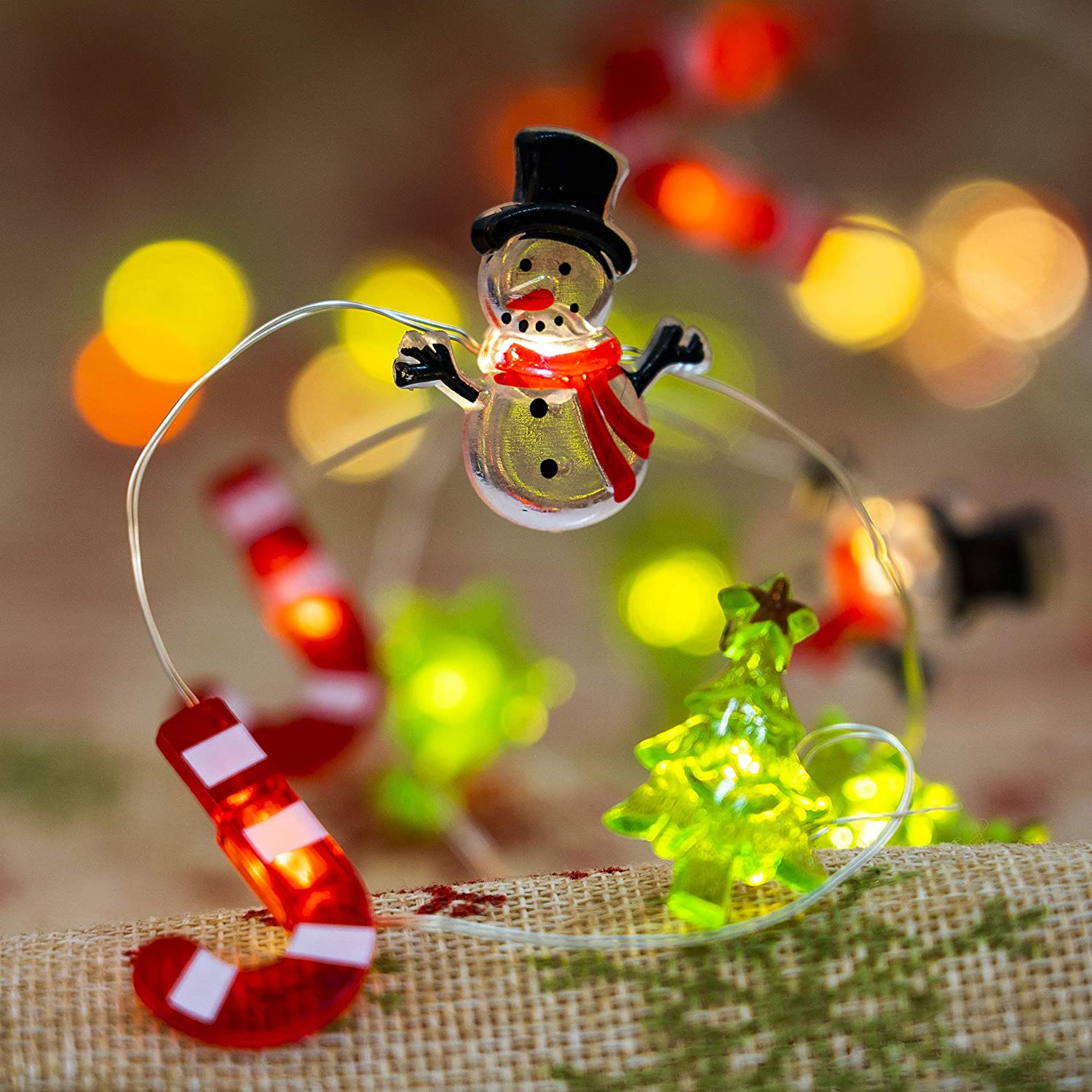 FUNPENY Christmas Snowman String Lights, 10 Ft 40 LED Waterproof Snowman Candy Canes Christmas Tree Copper Wire Fairy Light with 8 Modes, Indoor Outdoor Decor for Christmas Tree Holiday Party