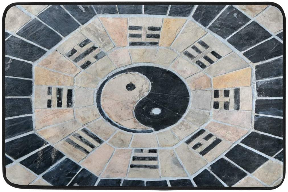 Welcome Door Mat Retro Chinese Yin and Yang Artwork Entry Entryway Rugs Indoor Outdoor Front Door Mats Doormats for Inside House Outside Entrance Way Non Slip Washable Exterior Carpet
