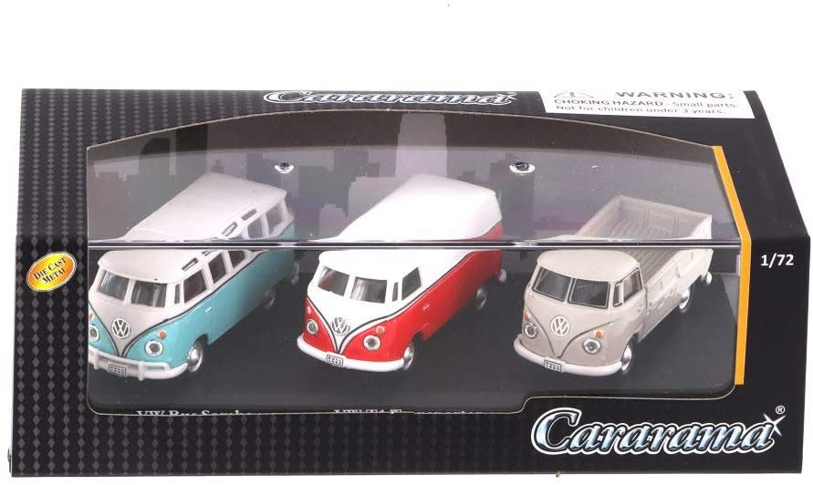 Cararama Volkswagen Bus, T1 Transporter, T1 Pickup 3 Car Set, Asstd 71313M - 1/72 Scale Diecast Model Toy Car