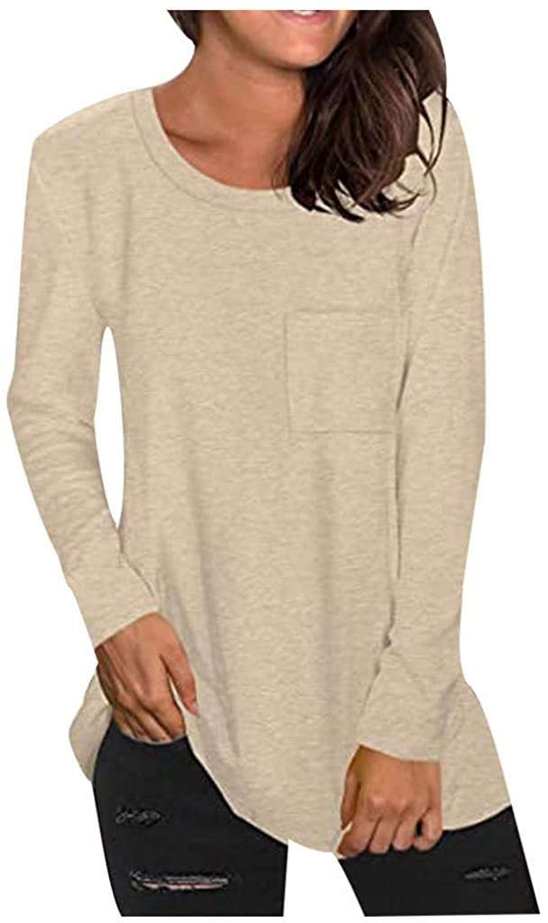 Womens Tops Fall Clothes Solid Blouse Long Sleeve O Neck Tunic Tops Loose Casual Shirts with Pocket