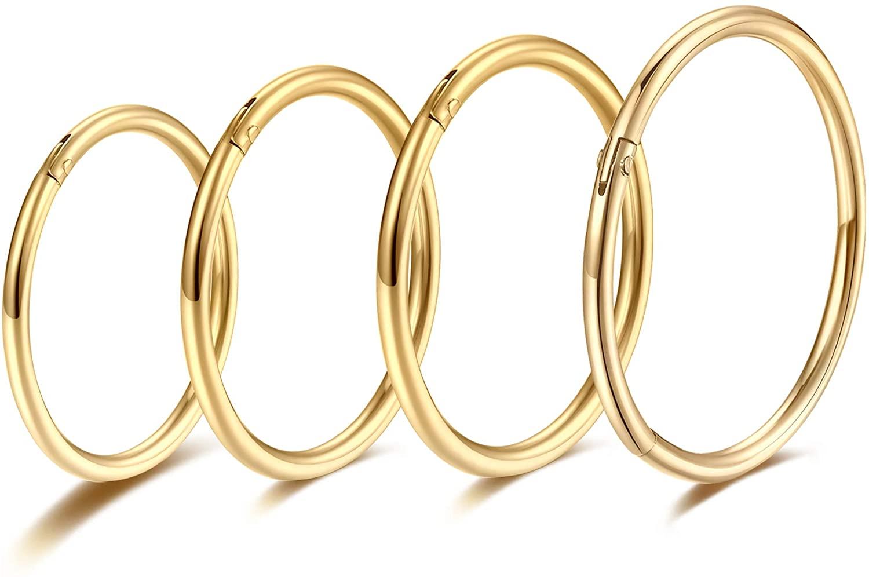 Gold Hinged 20g 18g 16g Nose Rings Hoops 6mm 8mm 10mm 12mm 14mm 16mm Septum Ring Clicker Cartilage Helix Hoop Earrings Set