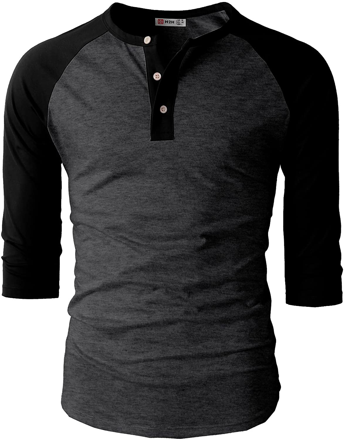 H2H Mens Casual Premium Slim Fit T-Shirts Henley Long & 3/4 Sleeve Spring Summer Clothes