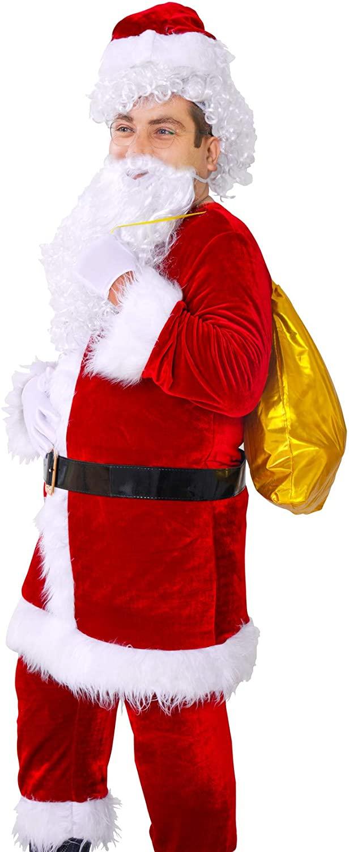 Tvakkera Santa Claus Costume 9 PCs incl. Pants Belt Beard Gift Bag Christmas