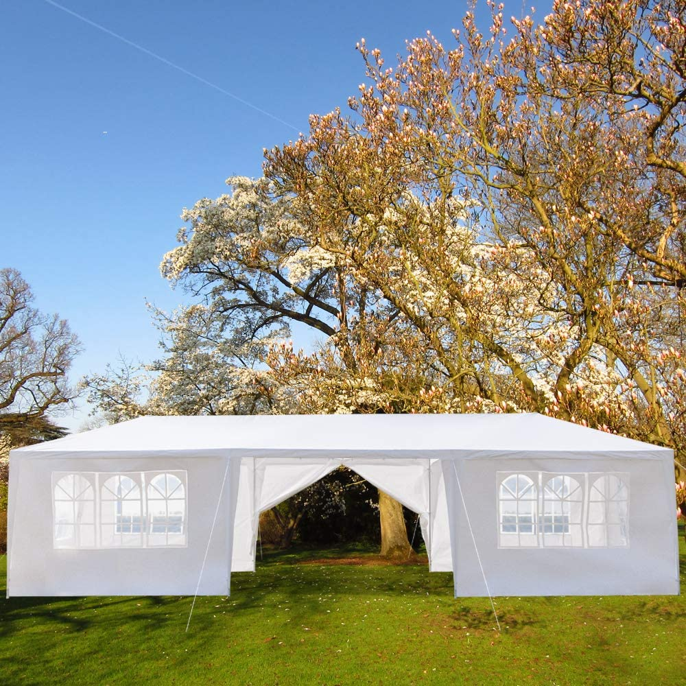 Outdoor Patio Canopy, 8 Sides Walls 2 Doors with Windows Heavy Duty Gazebos, Sunshades Shelter Waterproof Commercial Tent for Events, Wedding, Party (29.5 x 10 x 8.5 ft, White 8 Sides Wall)