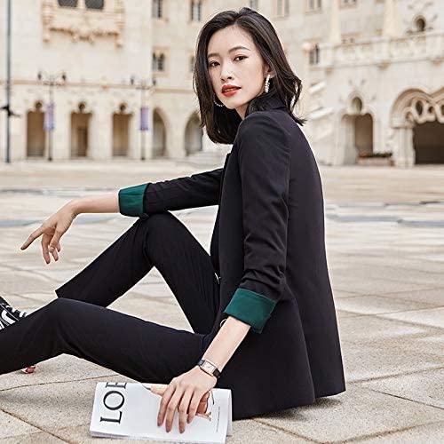 Business Wear Fashion Casual Suit Work Clothes Suit, Style: Coat +Pants Durable (Color : Black, Size : XXXXL)