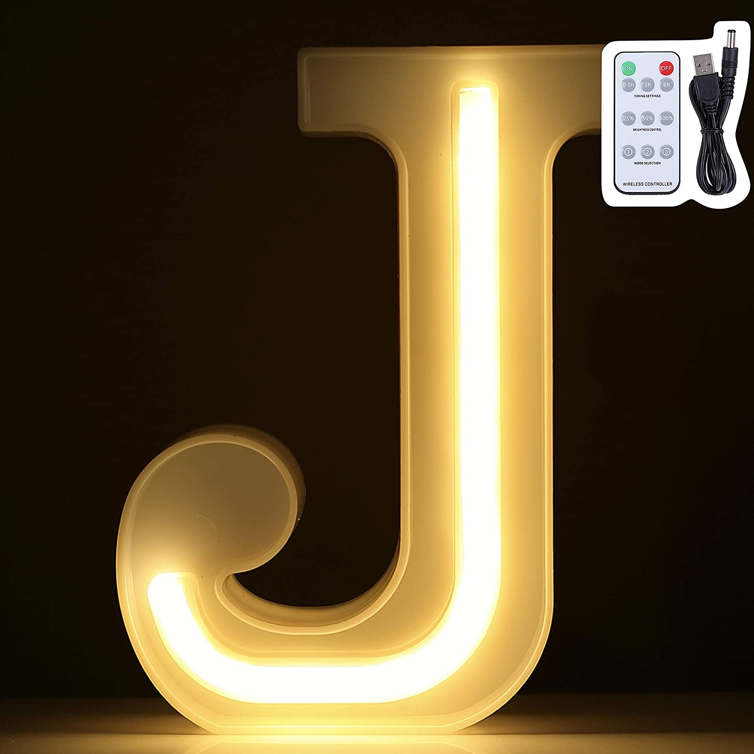 LED Marquee Letter Lights, Warm White Neon Signs Wall Decor, Light Up for Home, Bedroom Decoration on Wedding, Birthday, Christmas, Confession, Multi-Function Remote Control, Battery/USB Powered (J)