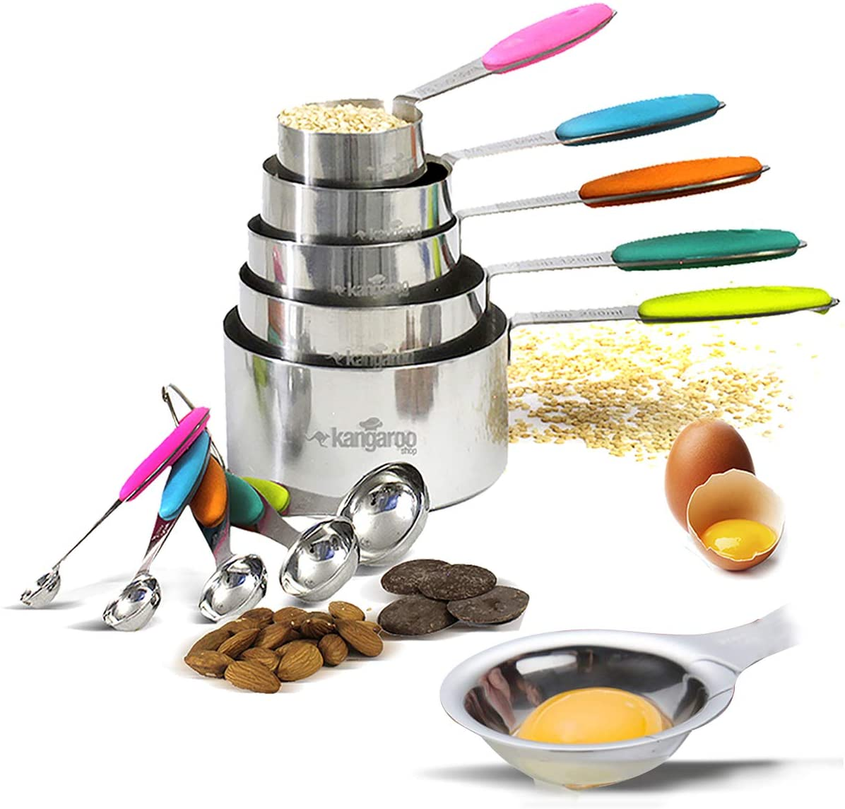 Measuring Cups and Spoons Stainless Steel 10 Pieces Set. Includes Egg Yolk and White Separator. Measure Liquid and Dry Ingredients for Cooking and Baking. Multicolor Silicon handles.