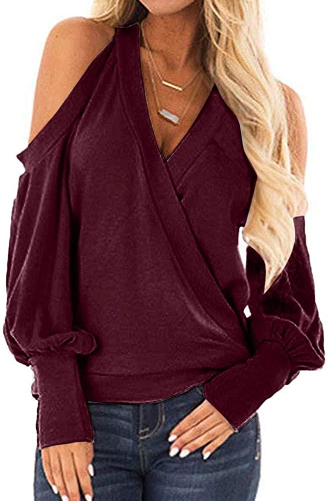 Muicook Women Off Shoulder Long Sleeve Blouse Sweatshirt Pullover Casual Tops Shirt