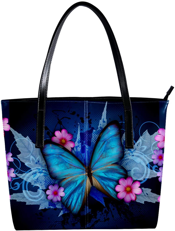 Handbags for Women Ladies Tote Bag Large Capacity Top Handle Shoulder Bag Blue Grass Flowers 15.7x11.4x3.5in