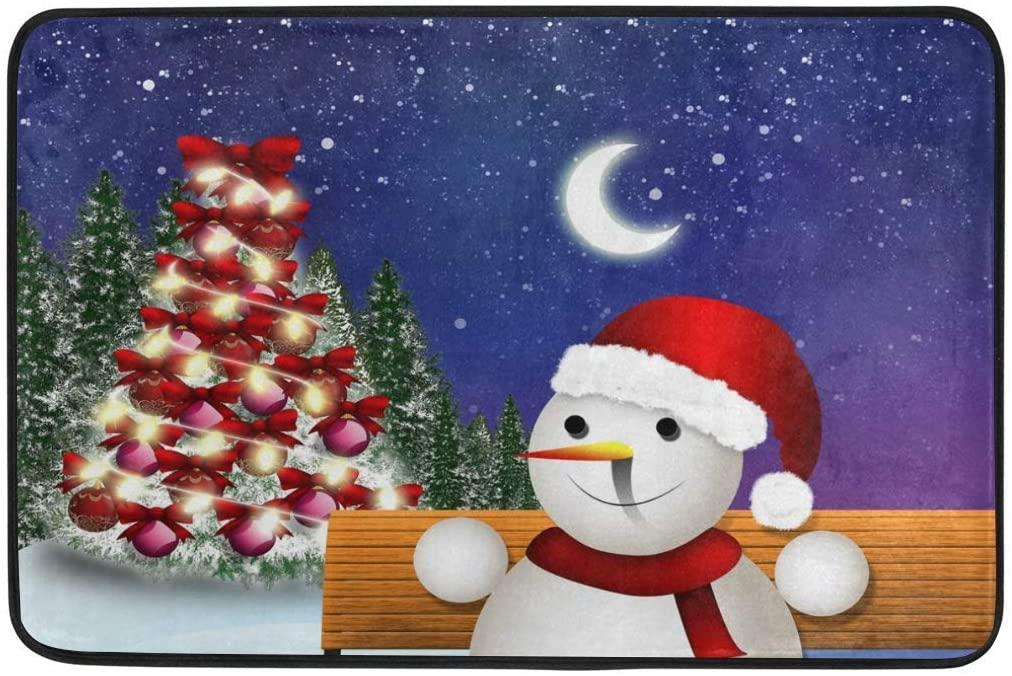N\ A Moon Night Christmas Snowman Tree Doormats Welcome Door Mat Entry Rugs for Inside House, Front Back Door, Entrance Way Outdoor, Entryway Indoor, Garage, Outside, Patio,Doorway,Home,Kitchen
