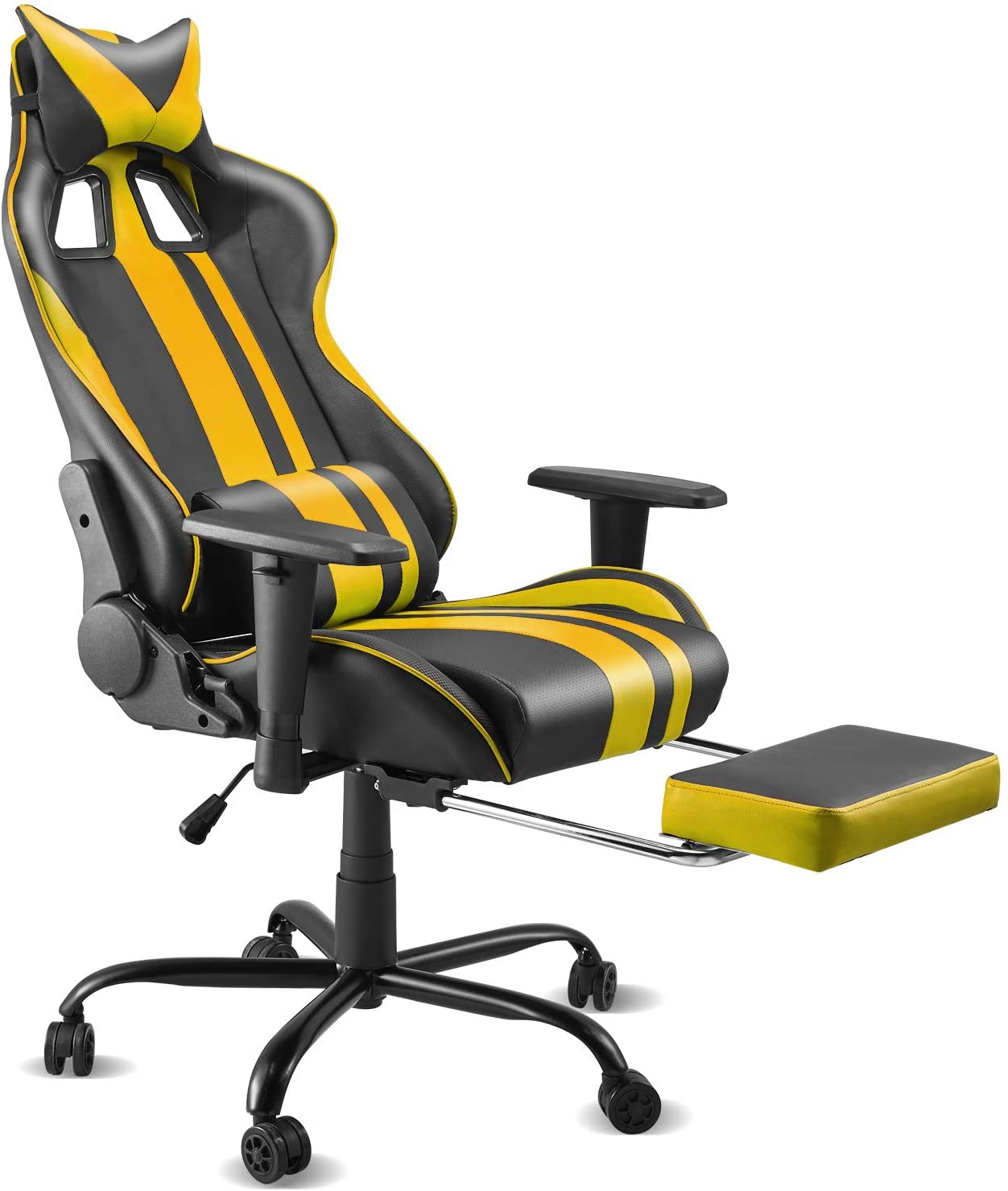Soontrans High-Back Gaming Chair for E-Sports Swivel Gamer Chair Ergonomic Computer Chair PU Leather Home Office Chair with Height Adjustment, Retractable Footrest,Headrest and Lumbar(Black/Yellow)