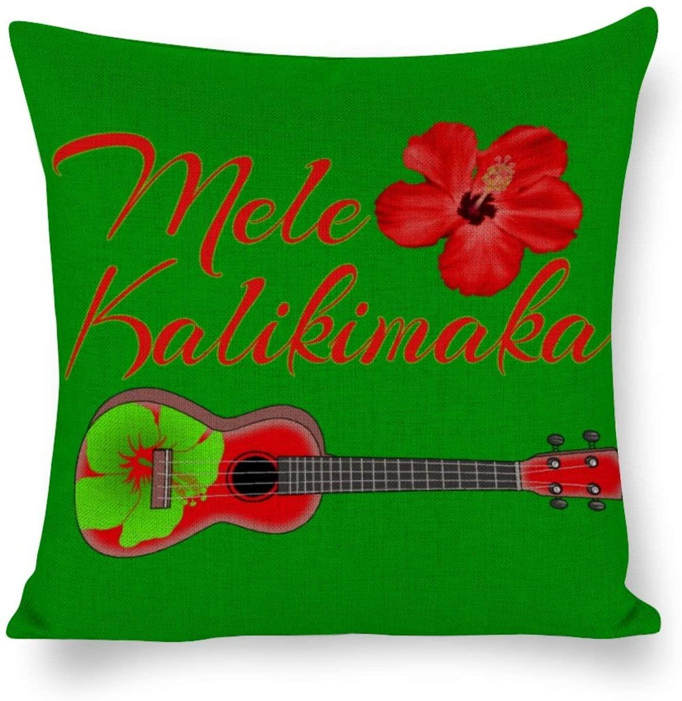 Mele Kalikimaka Ukulele Cotton Linen Blend Throw Pillow Covers Case Cushion Pillowcase with Hidden Zipper Closure for Sofa Bench Bed Home Decor 26x26