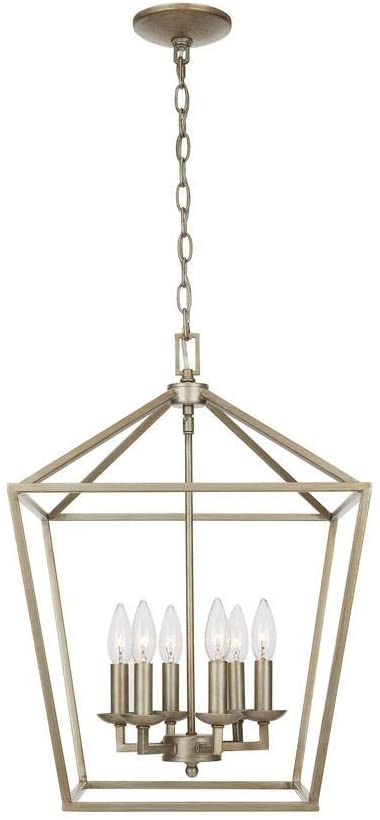 Home Decorators Collection Weyburn 6-Light Antique Silver Leaf Caged Chandelier