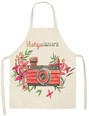 Heart-Shaped Apron Simple Pink Gold Cotton Linen Apron red Lips Pattern Home Cooking Roasting Coffee Shop Apron Apron Kitchen (Color : 3, Size : 66x47cm)