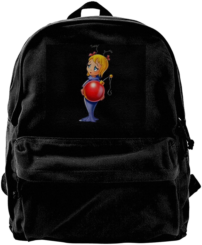 Opplsh Hdrejn Cindy Lou Canvas Backpack, Durable Rucksack, Travel Bag, Men and Women.