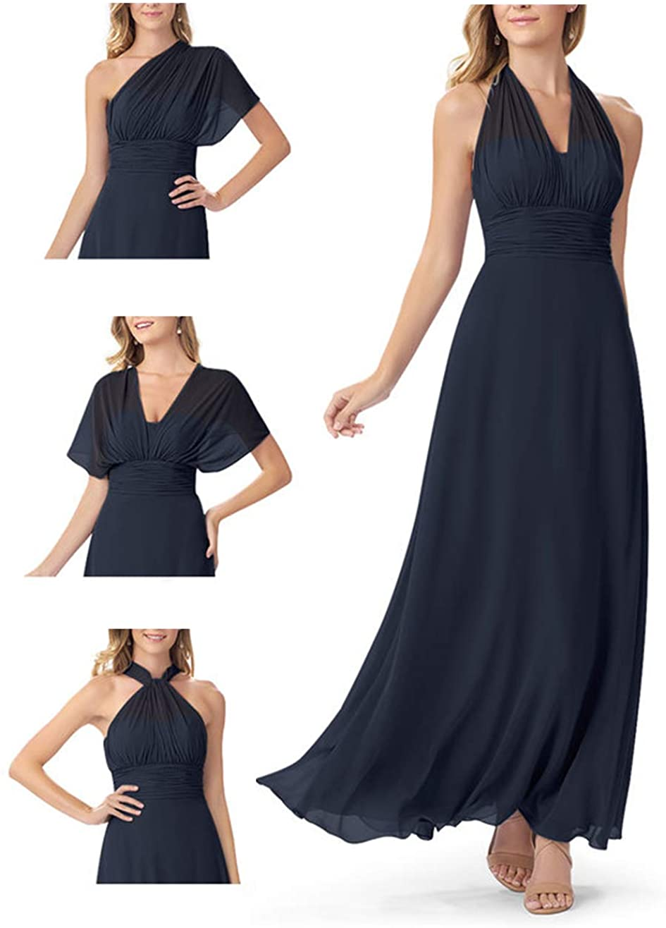 Elleybuy Women's Bridesmaid Dress Long Chiffon Wedding Dress for Bridesmaid Navy Blue