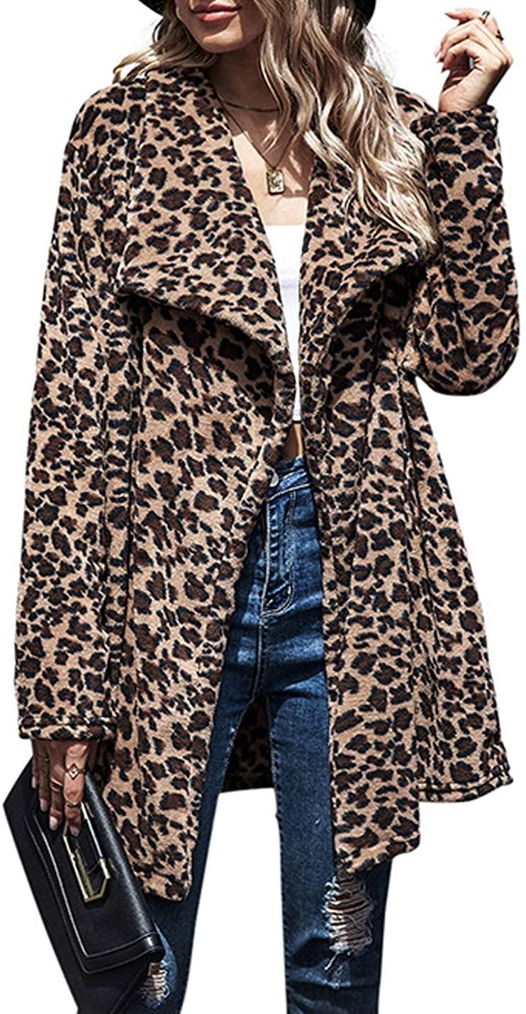 Hongsui Womens Warm Long Sleeve Mid-Length Parka Faux Fur Coat Overcoat Leopard Fluffy Top Jacket