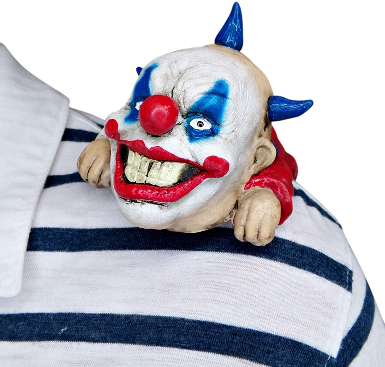 Scary Clown Halloween Costume Accessory with Crazy Make Up and Hair, Shoulder Sitter