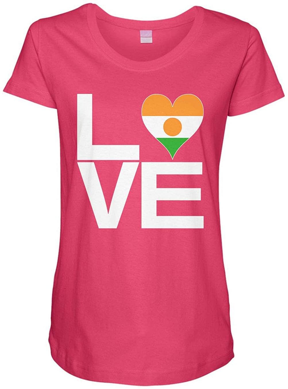 HARD EDGE DESIGN Ladies Love Block Niger Heart Maternity Tee, Medium, Hot Pink