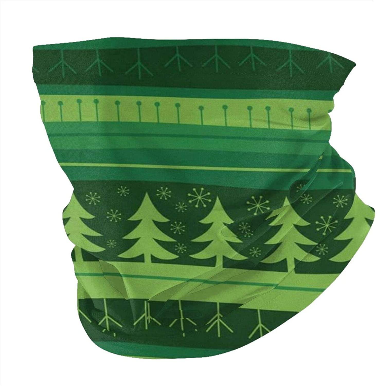 Zmeyou Green Christmas Seamless Background Face Mask Bandanas Neck Gaiter for Women Men, Half Balaclava, Face Scarf, Unisex Multifunctional Full-Coverage Tube Masks