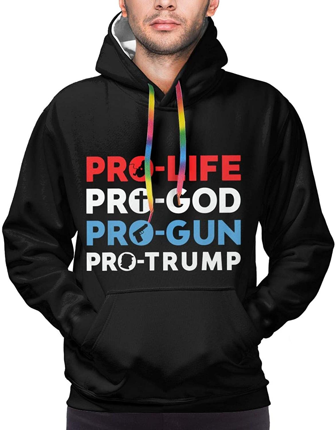 Trump 2020 Pro Life Pro God Pro Gun Men's Personalized Pullover 3D Hooded Sweatshirt Warm Pocket Hoody