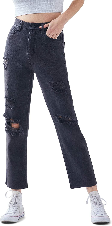 PacSun Women's Black High Waisted Straight Leg Jeans - Worn Look Ripped Denim, Black Wash