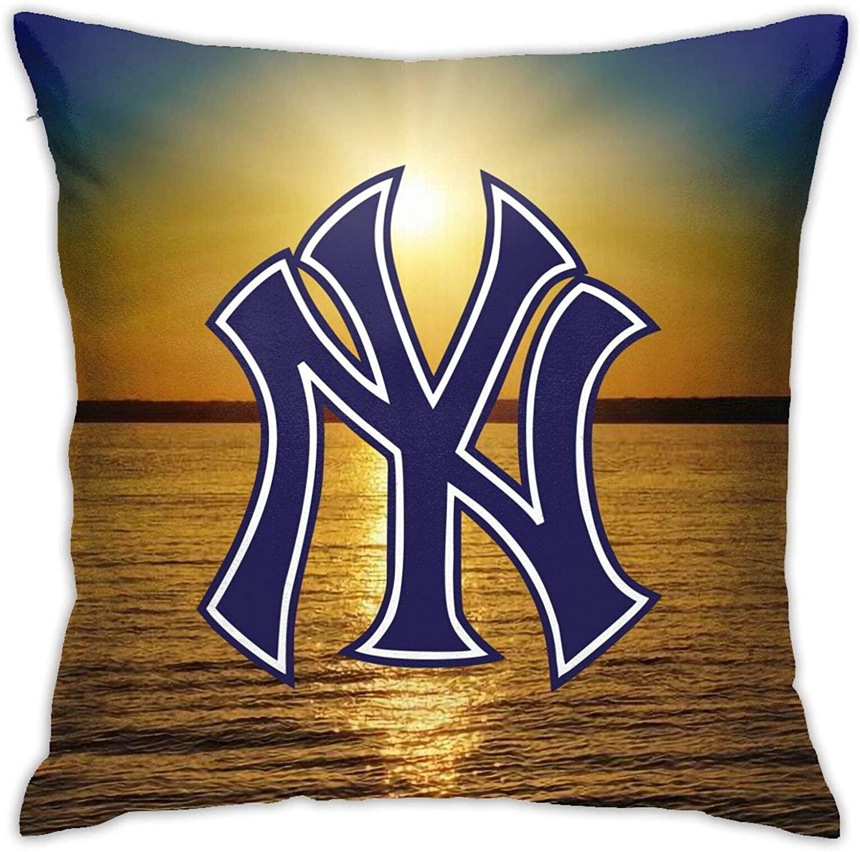 Happy-Life Ne-W Yo-Rk Yan-Kees Pillow Case, Sofa Cushion, Outdoor Cushion Cover for Bedroom (18 X 18 Inch)