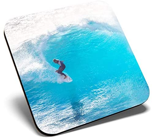 Great Single Coaster Square - Cool Surfer Wave Ocean Surf |Glossy Quality Coasters | Tabletop Protection for Any Table Type #2458