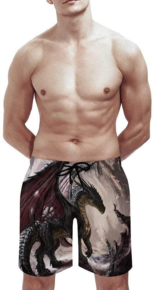 Swim Trunks Men with Mesh Lining Dragons Flying Board Shorts Toddler Ball Sports Vibrant Color Bathing Suits