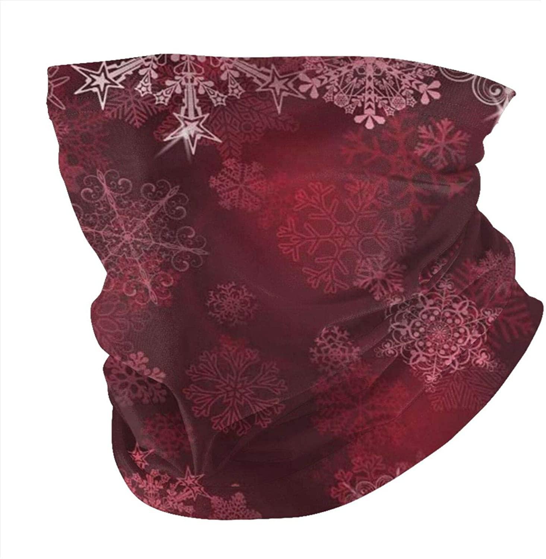 Zmeyou Burgundy Merry Christmas Snowflakes Face Mask Bandanas Neck Gaiter for Women Men, Half Balaclava, Face Scarf, Unisex Multifunctional Full-Coverage Tube Masks
