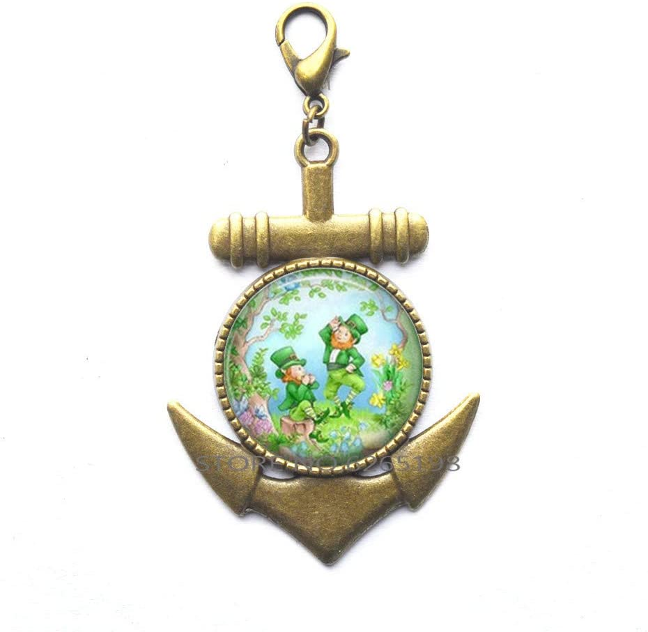 Happy St. Patrick's Day Anchor Zipper Pull, St. Patrick's Lobster Clasp,Christian Anchor Zipper Pull,Religious Jewelry,Saint Patrick's Day Gift,N197
