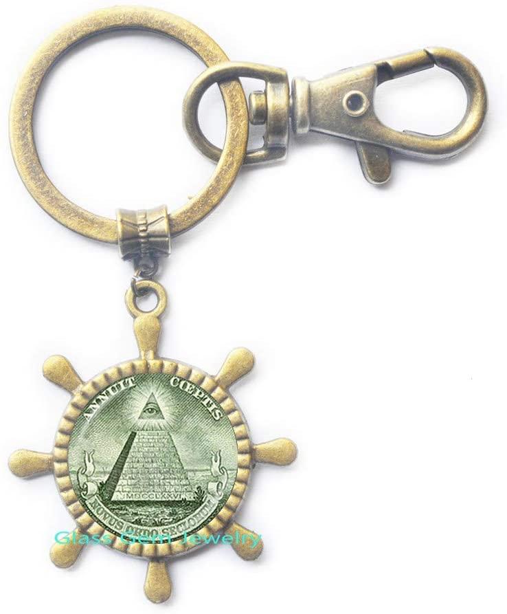glass gem jewelry Annuit Coeptis Key Ring Egypt Pyramid Rudder Keychain Eye of Providence Maic Illuminati Maic Sign Sacred Geometry Rudder Keychain,Q0271