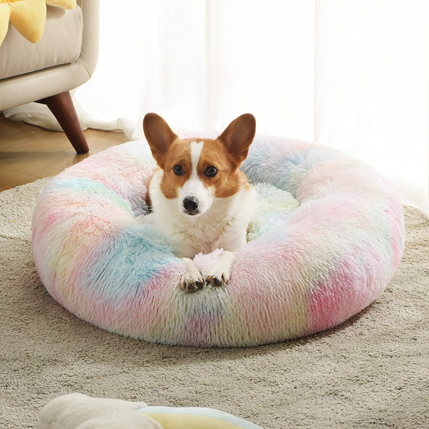 Western Home Faux Fur Dog Bed & Cat Bed, Original Calming Pup Dog Bed for Small Medium Pet, Anti Anxiety Donut Cuddler Round Warm Bed for Dogs with Fluffy Comfy Plush Kennel Cushion(20