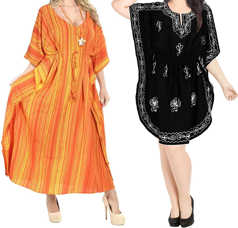 LA LEELA Women's Plus Size Kaftan Nightgown Lounge Dress US 16-32W Work from Home Clothes Women Midi Kaftan Casual Long Dress Maxi Cover up Pack of 2