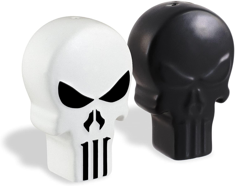 Marvel Punisher Ceramic Salt and Pepper Shakers - Black and White Punisher Skull Logo Design - 3