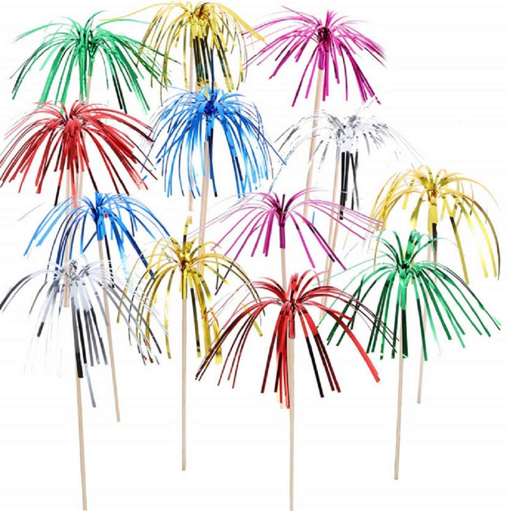 Pack of 100 24cm/9.45inch Handmade Foil Frill Bamboo Firework Cupcake Picks Cocktail Picks Fruit for Christmas Birthday Party Supplies Cakes Decoration Assorted Colors