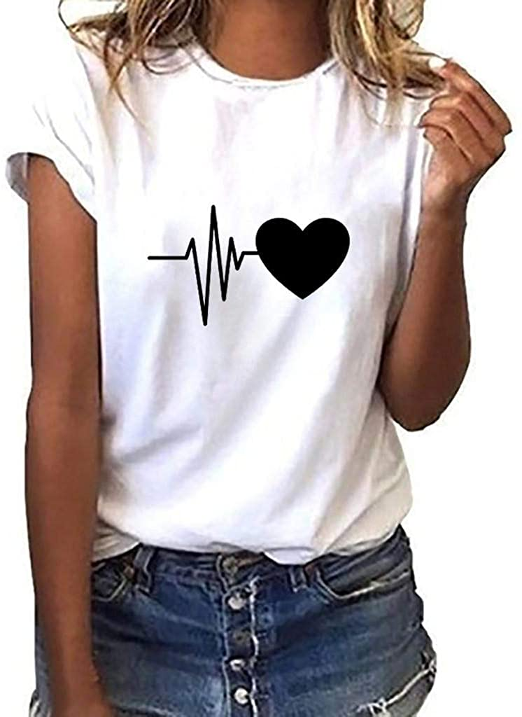 terbklf Plus Size Blouse for Women Fashion Women's Loose Short Sleeve Heart Print T-Shirt Casual O-Neck Tops