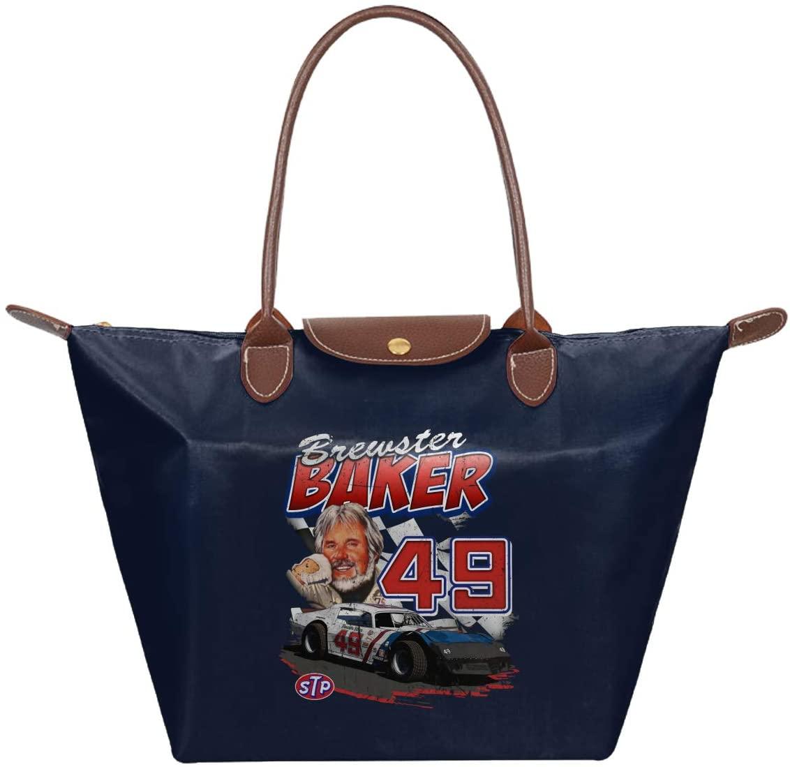 Ssxvjaioervrf Kenny Rogers Waterproof Zipper Tote Bag Handbag Nylon Shoulder Shopping Fold Bag Navy