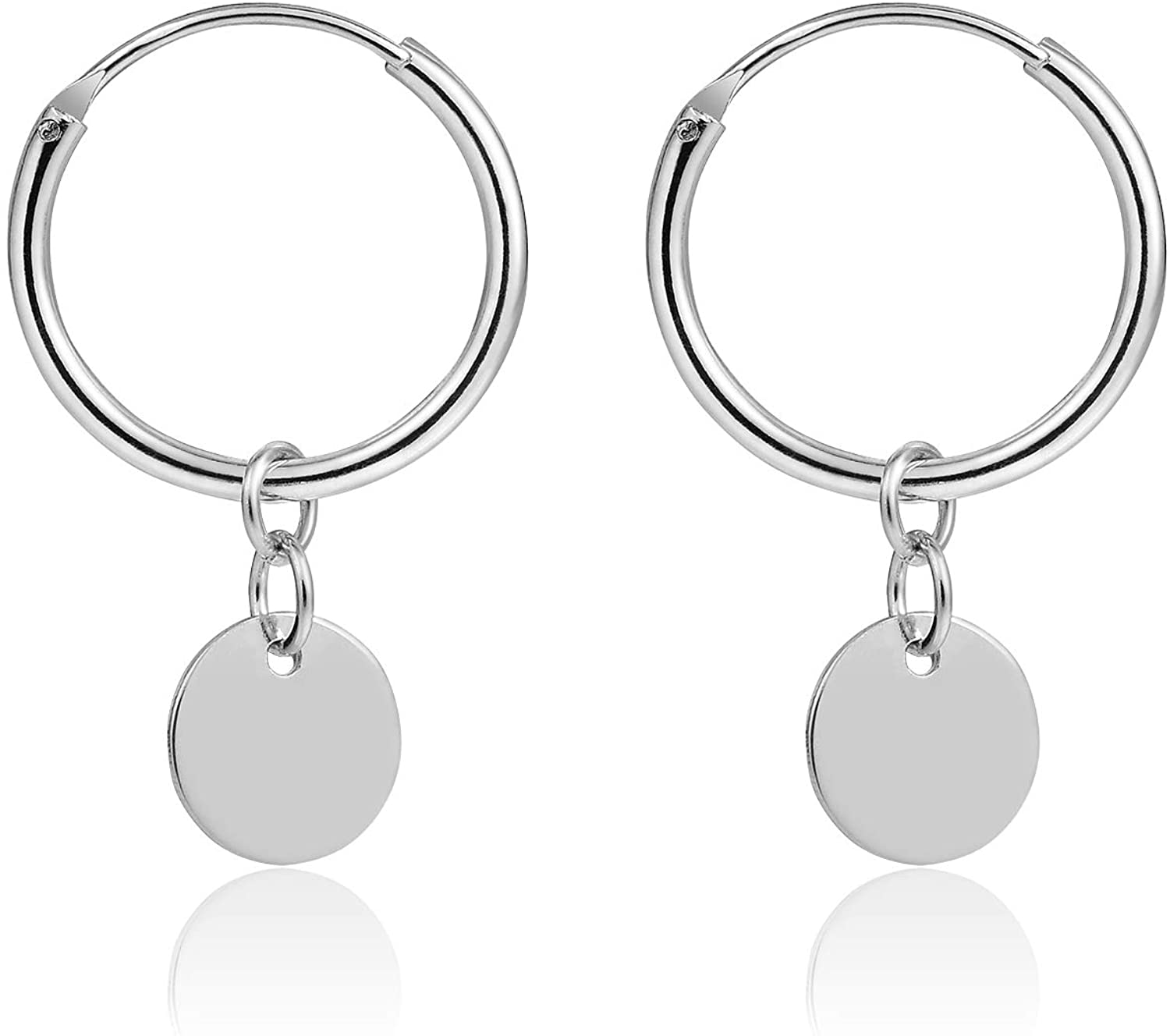 YeGieonr Small Dangle Hoop Earrings -925 Sterling Silver with 14k Gold Plated,Minimalist Dainty Huggie Hoop Earrings with Tiny Charms For Women/girls/teens