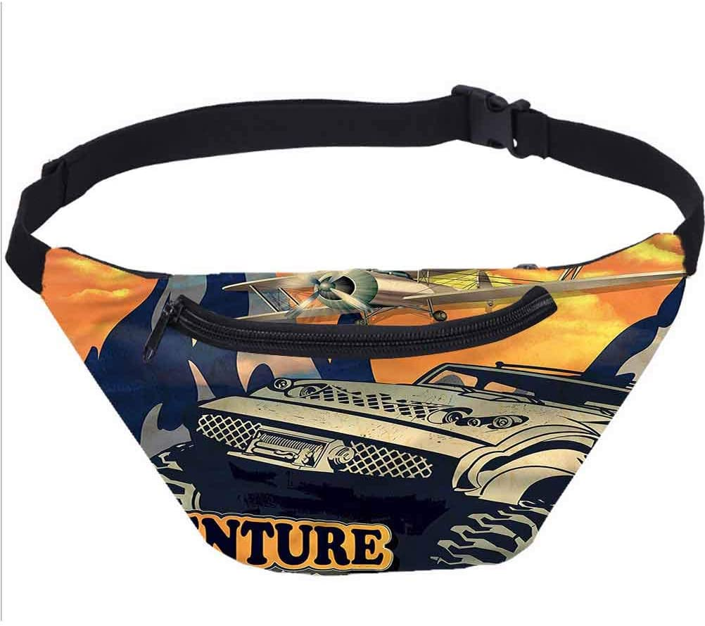 Adventure Travel Fanny Bag,Grunge Big Car Plane Waist Pack for Adult Coworker