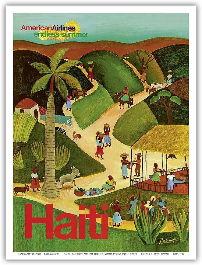 Haiti - Haitian Village - American Airlines Endless Summer - Vintage Airline Travel Poster by Paul Degen c. 1970's - Master Art Print 9in x 12in