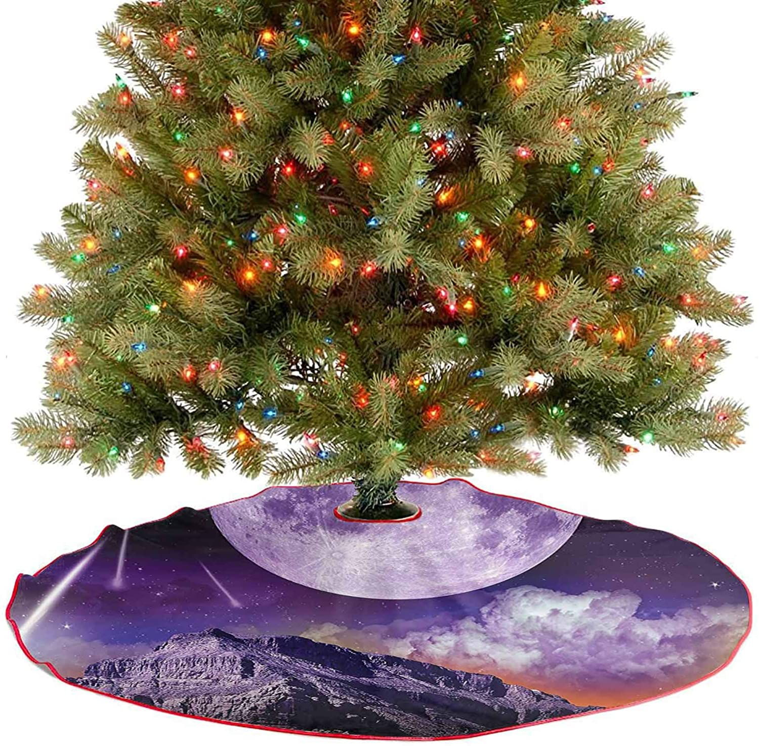 Adorise Luxury Christmas Tree Skirt Fantasy Dark Night in Earth Outer Space Planet Celestial Large Moons Comets Holiday Party Decoration for Farmhouse Fireplace Holiday Party - 48 Inch