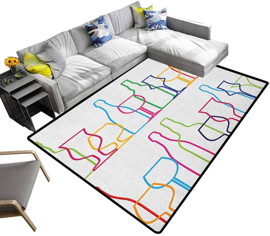 Rug Pad Wine, Ultra Soft Indoor Area Rugs Colorful Outline Bottles and Glasses Bar Party Drink Cocktails Modern Fun Collection Decorative Footcloth/Floor Cover/Play Mat Multicolor, 7 x 7 Feet